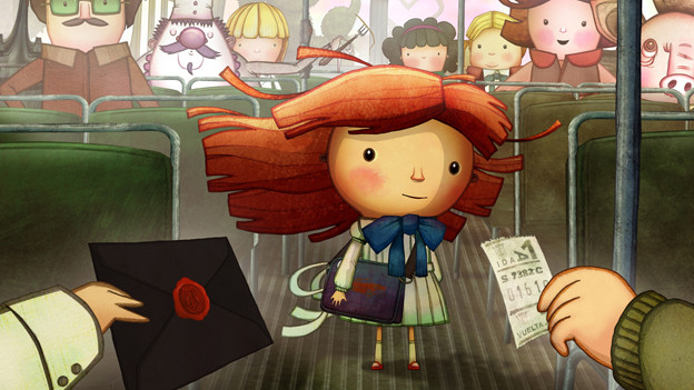 Szene aus einem Animationsfilm: Ein Mädchen steht in einem Bus, zwei Hände halten ihr einen Umschlag und ein Ticket entgegen.