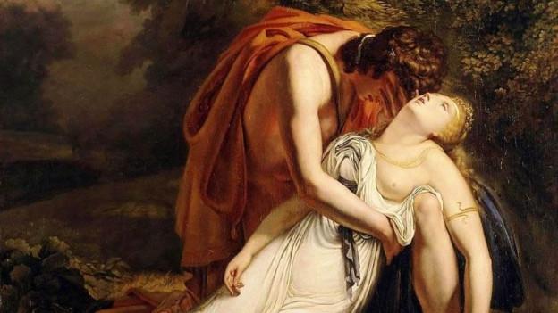 Orpheus hält die tote Eurydike.