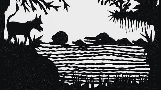 Scherenschnitt: Im Wasser schwimmen Krokodile und ein Mensch, am Ufer steht ein Esel.