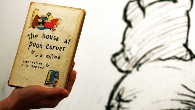Zeichnung eines Bären, daneben hält eine Hand ein altes Buch hoch.