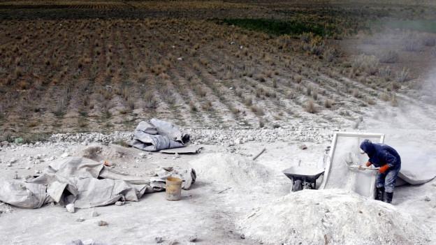 Eine Kalkabbaustelle in Bolivien.