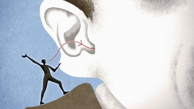 Illustiration: Ein Männlein schleicht ins Ohr.