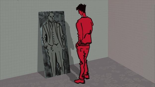 Illustration Mann steht vor Spiegelbild
