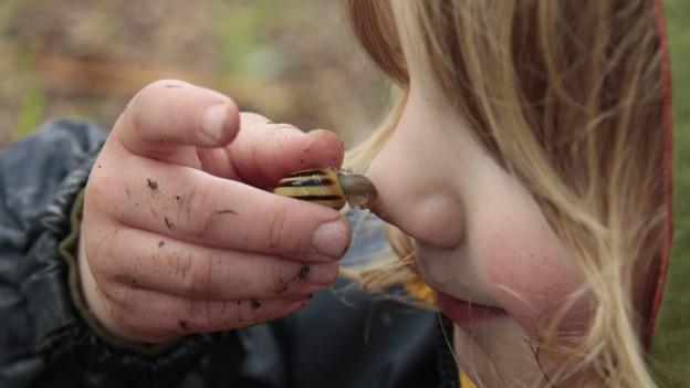 Ein Mädchen hält ein Schneckenhaus an seine Nase.