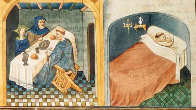 Szene aus dem «Decamerone»: Ein Mönch zu Gast am Tisch eines Ehepaares / Der Mönch schläft mit der Frau, während der Ehemann betet. (Buchmalerei, französisch)
