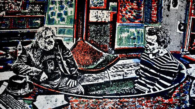 Der Künstler Felix Brenner hat sich und Regisseur Johannes Mayr in einem Kunstwerk verewigt.