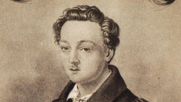 Georg Büchner, Porträtzeichnung von Adolf Hoffmann, 1835.