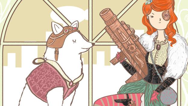 Auf einer Comixzeichnung ist ein Wolf und eine Frau mit Augenklappe und Maschinengewehr zu sehen.