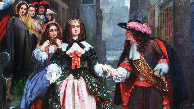 Samuel Pepys macht einer Frau den Hof.