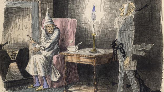 Illustration: Ein mürrischer Mann sitzt an einemKamin, ein Weiss gekleideter Mann kommt auf ihn zu.