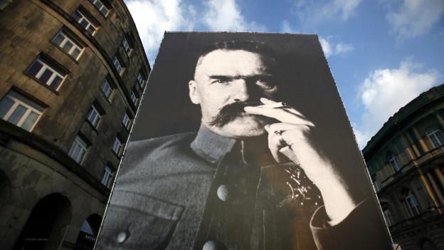 Ein Porträt von Józef Klemens Pi?sudski: Es erinnert an den polnischen Militär und Politiker, der gegen die russische Herrschaft kämpfte.