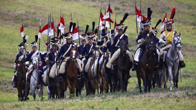 Eine Gruppe von Angehörigen einer Kavallerie-Eiun