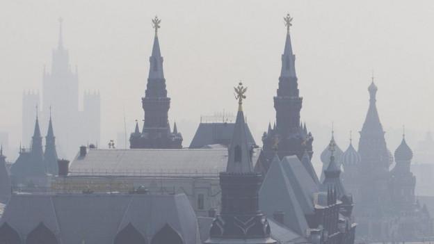 Russische Stadt im Smog