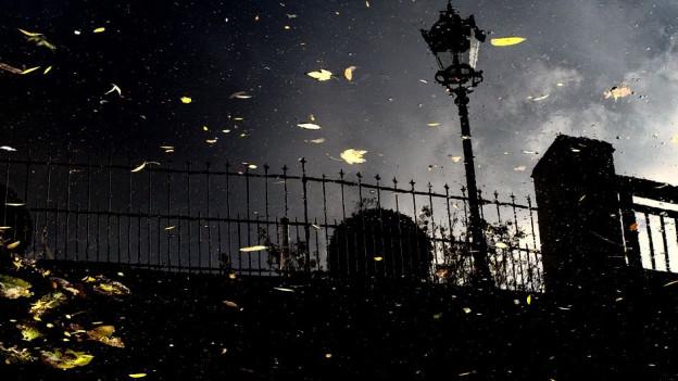 Ein Zaun in der Nacht, davor gelbe Lichtpunkte.