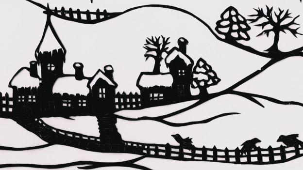 Illustration einer verschneiten Märchenlandschaft.