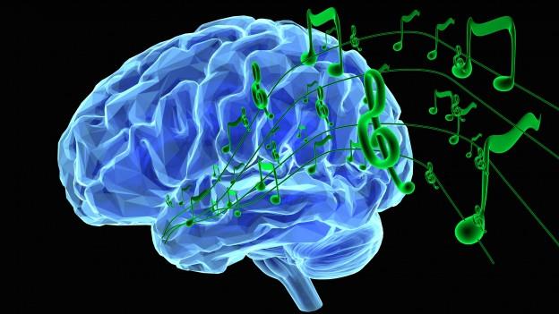 Grafik: Aus einem Gehirn kommen Musiknoten.