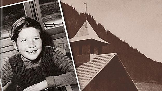 Bildcollage mit einem Kindheitsfoto der Autorin und einer Kapelle.
