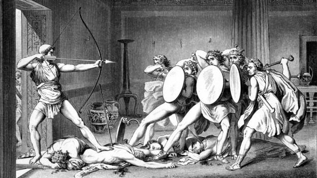 Ob Odysseus gegen Lillifee und Co. auf zeitgenössischere Kampfarten umsteigt als damals gegen die Freier von Penelope? (Bild aus «Die Sagen des klassischen Altertums» von Gustav Schwab)