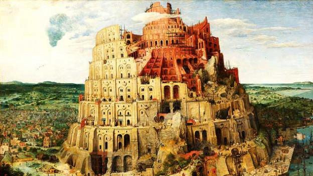 """Reproduktion eines Ölgemäldes vom """"Turmbau zu Babel"""""""