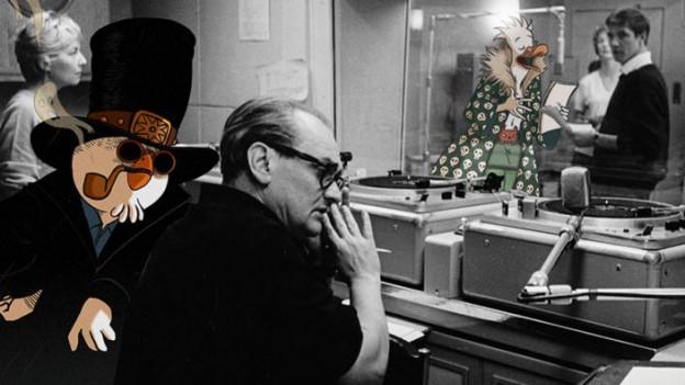 Fotomontage aus einem Aufnahmestudio, Comicfiguren und reale Personen arbeiten Seite an Seite