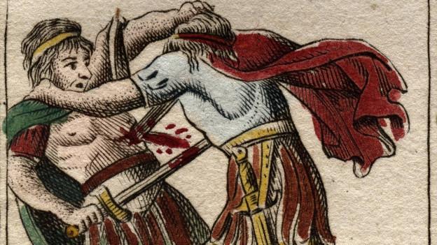 Zeichnung von zwei Männern in Röcken und Umhängen, die sich gegenseitig die Schwerter in den Bauch rammen