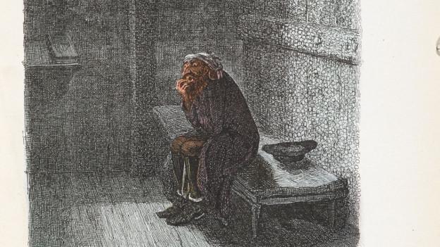 Fagin in seiner Zelle. Die wohl berühmteste Illustration von George Cruikshank für die Erstausgabe von Charles Dickens. Coloriert in 1911.