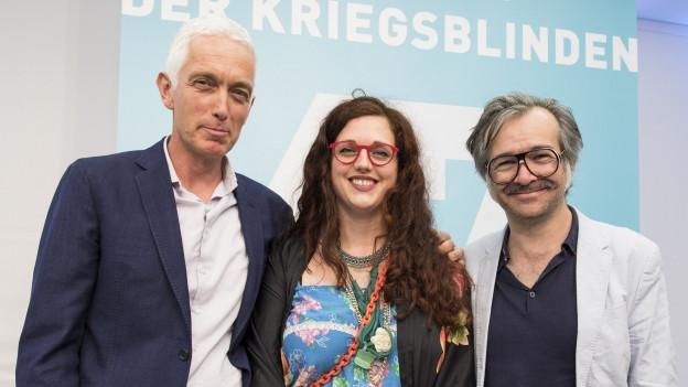 Das Team des nominierten Hörspiels 'Geister sind auch nur Menschen': Erik Altorfer, Katja Brunner, Mario Marchisella