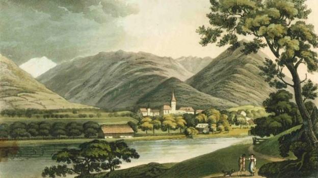 Interlaken, gemalt unbekanntem Künstler aus England um 1821.