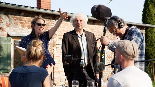 hinten: J. Lorentz (Regie), Udo Wachtveitl (Meiler), P. Avar (Tontechnik) / vorne: T. Wedhorn (Linda), M. Grove (Wachs).