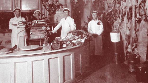 Der «Central Meat Market» des Aargauers Jakob Baumanns in Fremont, Ohio. Aufnahme 1904.