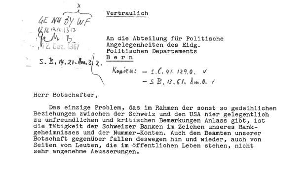Im Wortlaut hat sich nicht viel geändert: Dieses Schreiben des schweizerischen Botschafters in Washington an den Chef der Abteilung für Politische Angelegenheiten des Politischen Departements (heute EDA) von 1967 war die erste öffentlich Kritik aus den USA an die Schweiz.