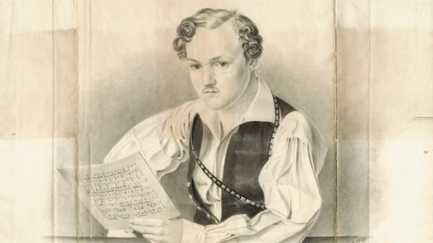 Georg Büchner in einer Darstellung von Philipp August Joseph Hoffmann 1833.