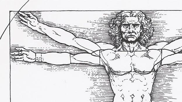 Der vitruvianische Mensch nach Leonardo da Vinci, um 1490.