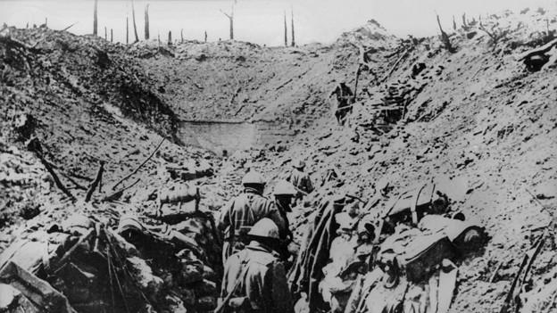 Ein Schützengraben im ersten Weltkrieg