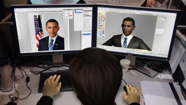 Man sieht einen Zeichner am Computer. Er ist auch animiert.