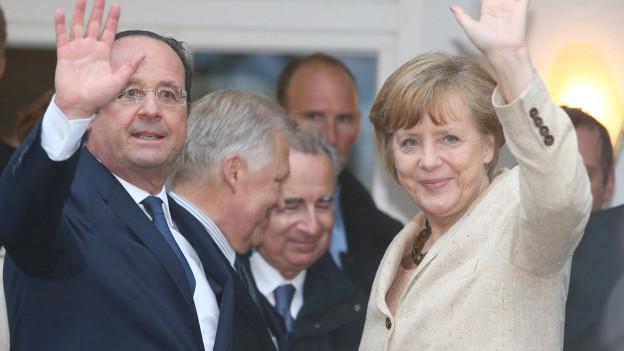François Hollande zu Besuch bei Angela Merkel.