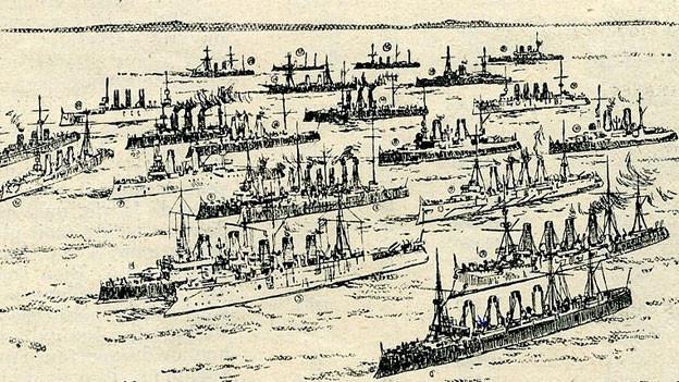 Auf einer Zeichnung sind Militärschiffe auf dem Meer zu sehen.