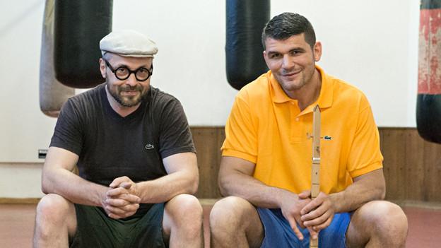 Angelo Gallina und Arnold Gjergjaj im Boxclub Basel.