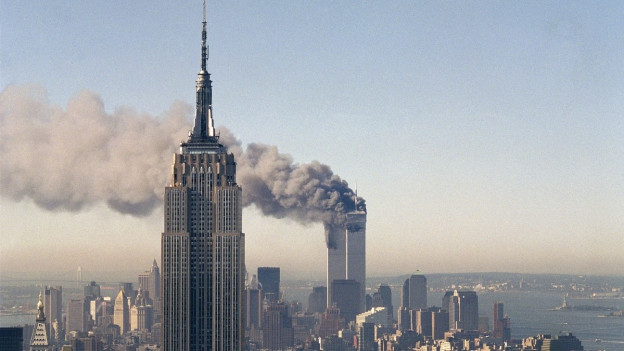 Symbol des Terrors: Die brennenden Twin Towers des World Trade Centers in New York.