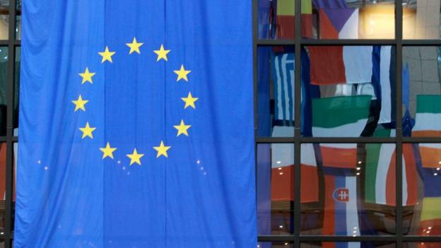 Eurofahne vor Hauswand.
