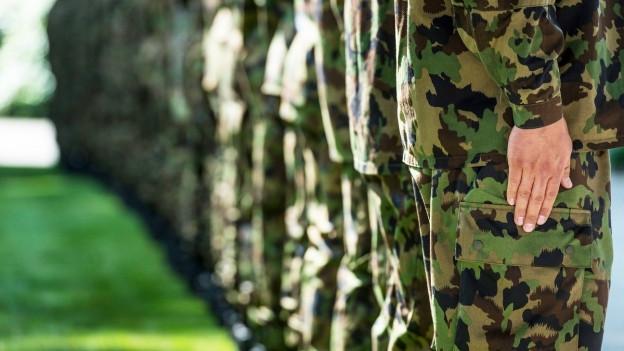 Eine Garde der Schweizer Armee steht stramm