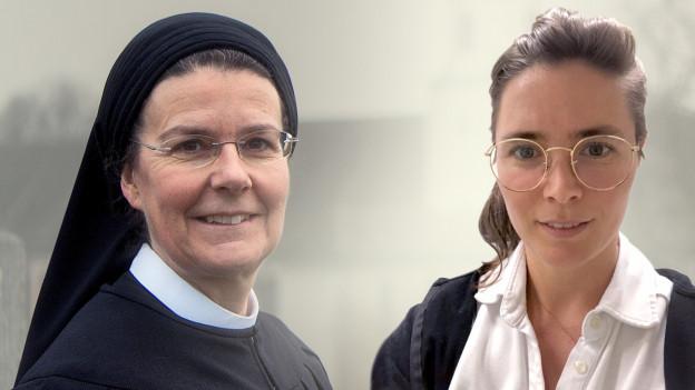 Zwei Frauen: links eine Nonne, rechts eine Frau mit Brille.
