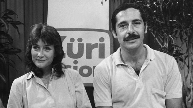 Ursi Spaltenstein und Roger Schawinski 1984 im Studio von Radio 24.
