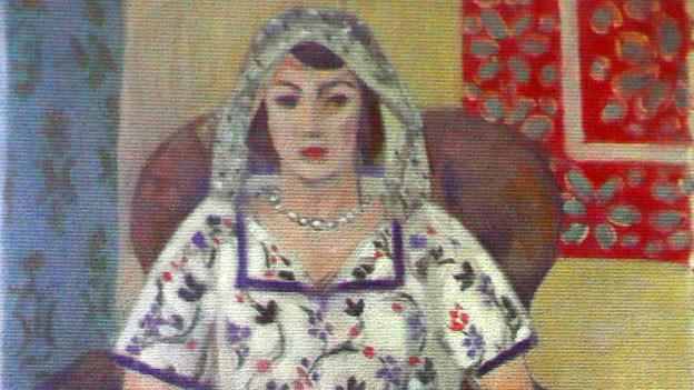 Ein Gemälde des Franzosen Henri Matisse:«Sitzende Frau». Nicht im Werkverzeichnis enthalten. Das Bild dürfte Mitte der 20er-Jahre entstanden sein und wurde 1942 in Libourne (Frankreich) beschlagnahmt.