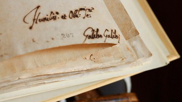 Die Unterschrift von Galileo Galilei.