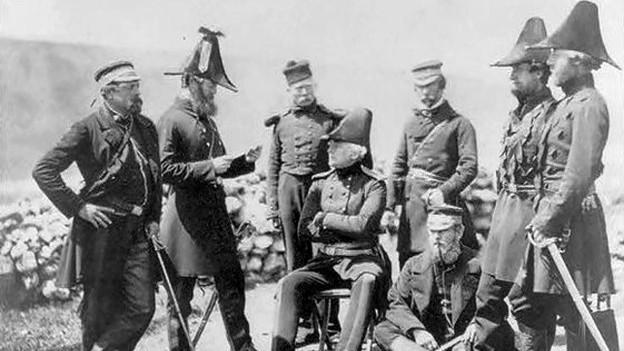 General Brown und sein Stab während des Krimkrieges, Fotografie von Roger Fenton, 1855.