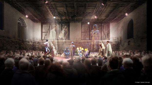 Das Wintertheater in Clavadeira. Ein Theaterstück wird auf der Bühne aufgeführt.