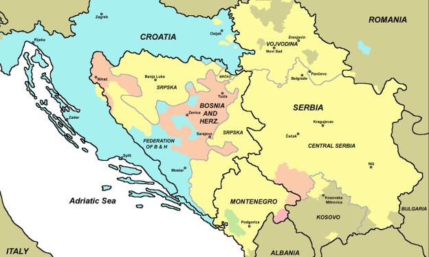 Eine Landkarte, die die Sprachgebiete im ehemaligen Jugoslawien aufzeigt.
