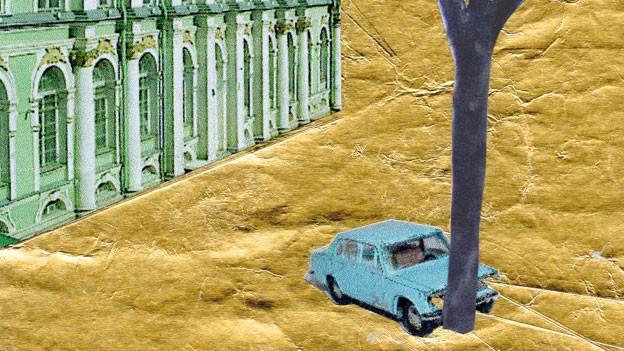 Eine Collage: Vor einem Gebäude fährt ein Auto in einen Baum hinein.