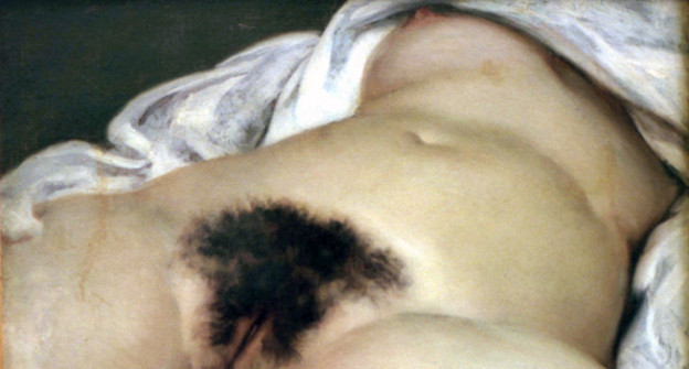 Die Vagina einer liegenden Frau.